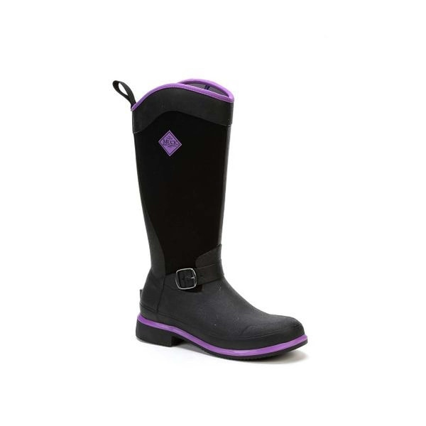 Muck Boot Women's Reign Tall Black with Purple Size 7 Equestrian Boot