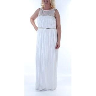 LONDON TIMES $119 Womens New 5214 White Pleated Beaded Sleeveless Dress 12 B+B