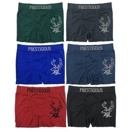 Men's 6-Pack Seamless Deer Print Boxer Briefs