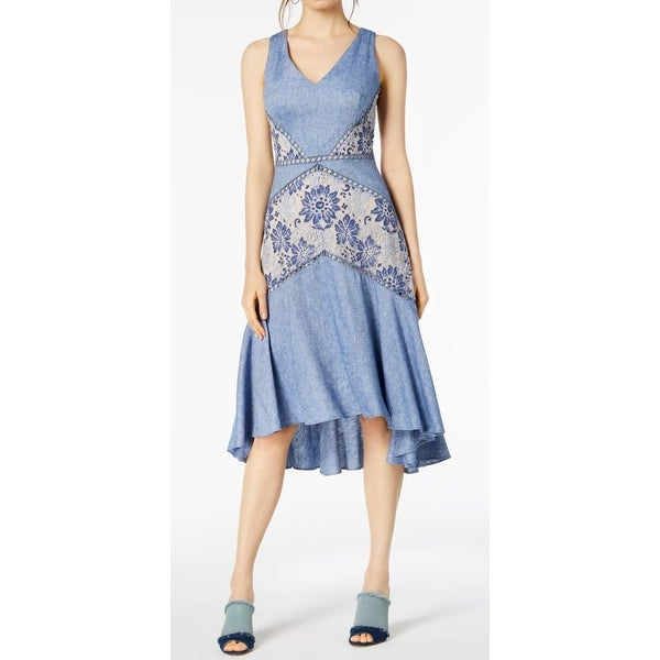 9ee751922f Shop Taylor Blue Womens Size 8 Floral Lace Sleeveless Sheath Dress ...