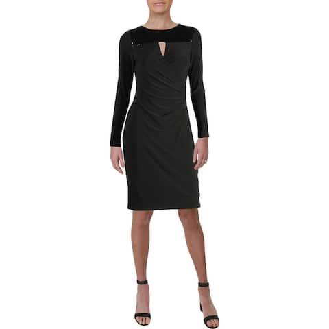 Lauren Ralph Lauren Womens Reina Party Dress Sequined Ruched - Black Multi