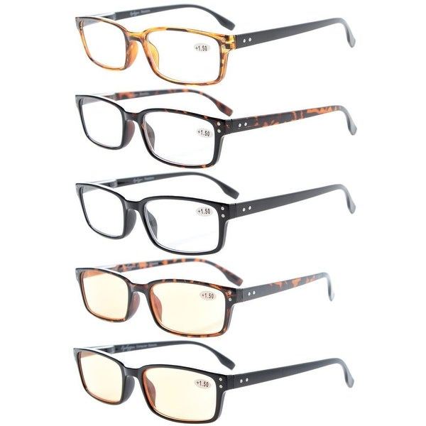 Eyekepper Readers 5-Pack Classical Spring-Hinges Reading Glasses +2.25