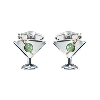 Dolan Bullock Sterling Silver Men's Martini Cufflinks - Green