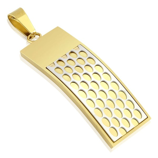 Honey Comb Gold IP Cross Stainless Steel Pendant (16 mm Width)