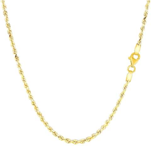 Mcs Jewelry Inc 14 KARAT YELLOW GOLD SOLID DIAMOND CUT ROPE CHAIN NECKLACE (3MM)