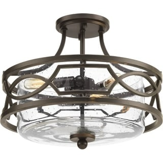 """Progress Lighting P350050 Soiree 3 Light 15"""" Wide Semi Flush Ceiling Fixture with Clear Seeded Glass Shade"""