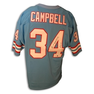 sports shoes 1a48c 2eb33 Autographed Earl Campbell Throwback Baby Blue Oilers Jersey