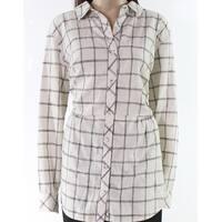Mododoc Beige Womens Size Large L Plaid Print Button Down Shirt