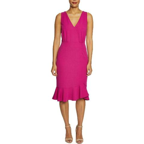 Betsey Johnson Womens Sheath Dress Pink Size 20W Double-V Flounce-Hem