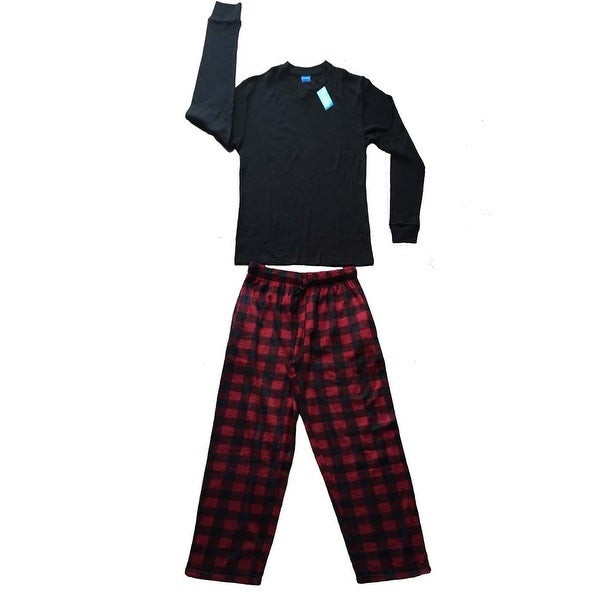 Men Cotton Thermal Top & Fleece Lined Pants Pajamas Set (Black)