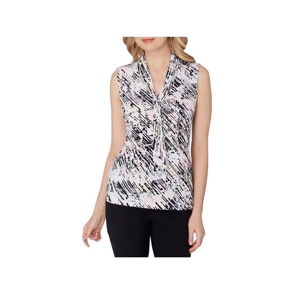 1d5a868f396f Shop Tahari ASL Womens Blouse Abstract Print Tie-Neck - Free Shipping On  Orders Over  45 - Overstock - 22722685