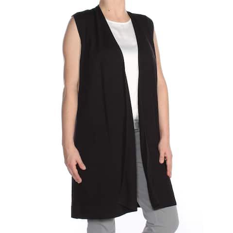 156de14bf9963 ALFANI Womens Black Open Vest Sleeveless Top Size  S