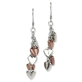 Chisel Stainless Steel Rose Gold Plating & Polished Hearts Dangle Earrings