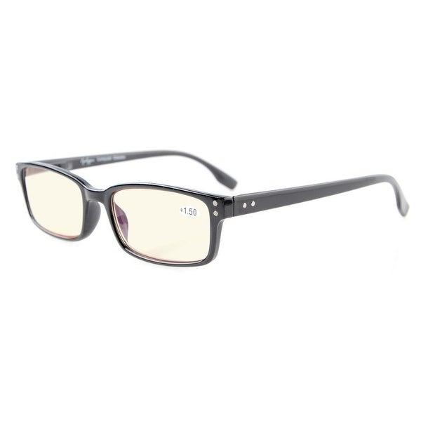 Eyekepper Classical Rectangular Frame Spring-Hinges Eyeglasses(Black, Yellow Tinted Lenses)+1.75