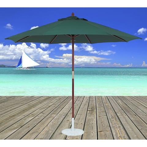 TropiShade 11-foot Dark Wood Market Umbrella with Green Olefin Cover