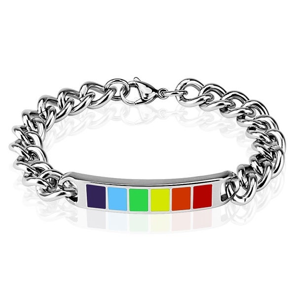 Rainbow Enamel Plate 316L Stainless Steel Chain Bracelet (9 mm) - 8.25 in