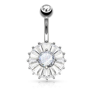 Princess Cut CZ with Double Tier Round Surgical Steel Belly Button Navel Ring-14GA (Sold Ind.)