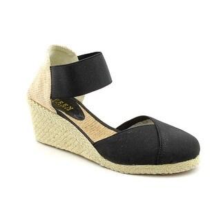 Lauren Ralph Lauren Charla Women Open Toe Canvas Black Wedge Heel