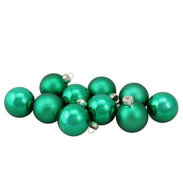 "10-Piece Shiny and Matte Green Glass Ball Christmas Ornament Set 1.75"" (45mm)"