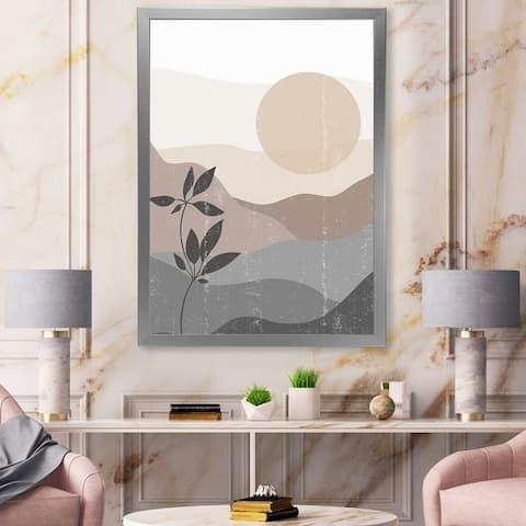 Designart 'Minimalist Mountain Landscape At Sunset' Modern Framed Art Print