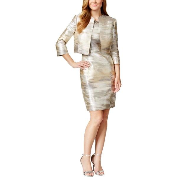 Shop Tahari Asl Womens Dress Suit Metallic 2pc Free Shipping Today