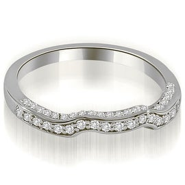 0.27 cttw. 14K White Gold Curved Round Cut Diamond Wedding Ring