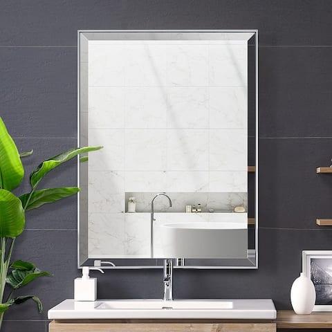 Silver Beveled Framed Wall Mirror