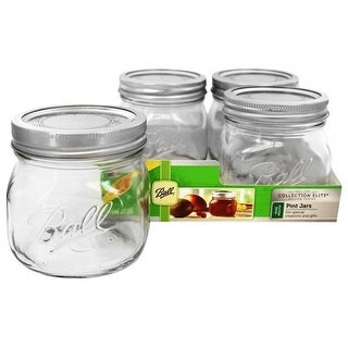Ball 1440061180 Collection Elite Pint Wide Mouth Jars, 16 Oz, 4-Pack