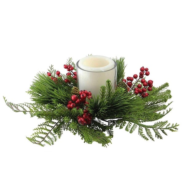 """15"""" Traditional Artificial Pine and Red Berry Decorative Wreath Pillar Candle Holder - green"""