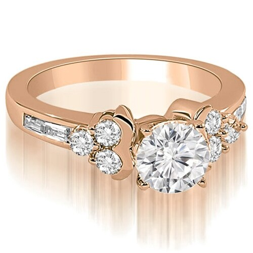 1.15 cttw. 14K Rose Gold Round and Baguette Cluster Diamond Engagement Ring