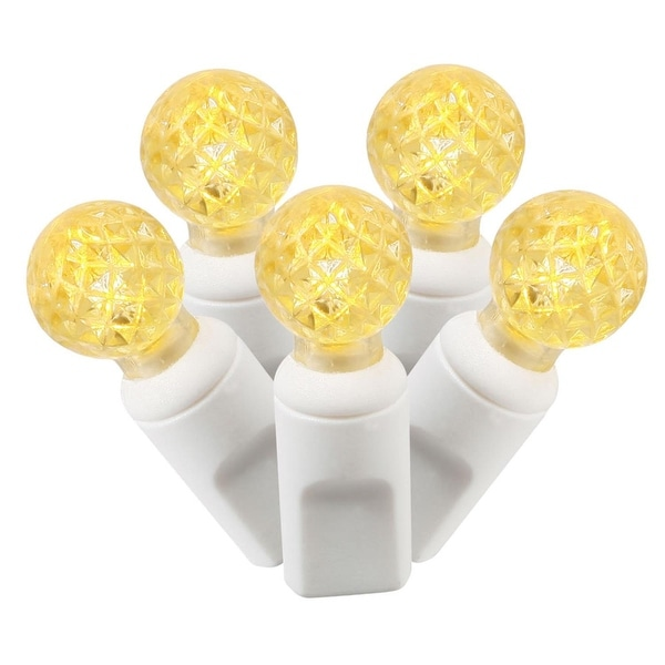 """Set of 100 Yellow Commercial Grade LED G12 Berry Christmas Lights 4"""" Spacing - White Wire"""