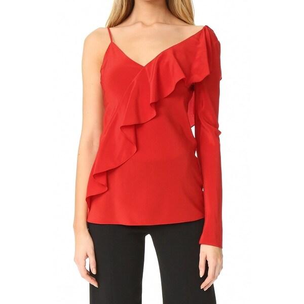 ab8e0471235eb Shop Diane von Furstenberg Red Womens 8 Asymmetric Ruffle Silk ...