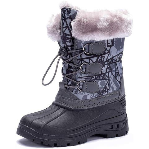 Kids HOBIBEAR Girls HOAW377673029 Rubber Mid-Calf Pull On Snow Boots - 11
