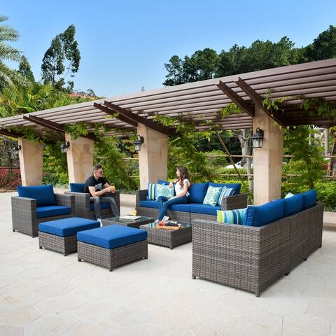 Ovios Patio Furniture Deep Seat Wicker 12-piece Set with Cushions