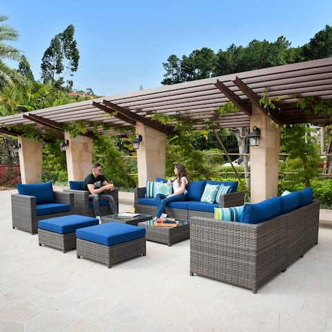 Ovios Patio Furniture Deep Seat Wicker Pillows & Sofa Cover Included Outdoor Furniture 12-Piece Set