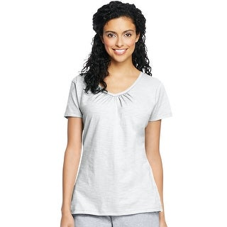 Hanes Women's Slub Jersey Shirred V-Neck - Size - XL - Color - White