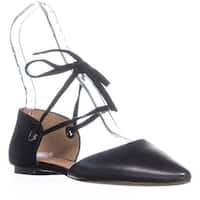 Coach Roy Lace-up Pointed Toe Flats, Black/Black