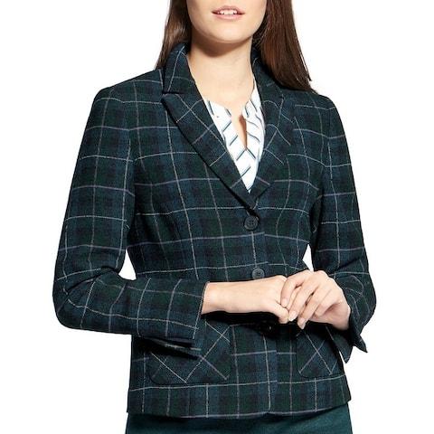Basler Womens Three-Button Blazer Plaid Wool Blend - Grounded Greens
