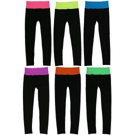 Women 6 Pack Seamless Fold-Over Color Waistband Sports/Yoga Leggings Pants