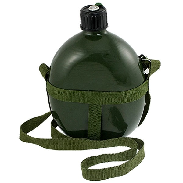Unique Bargains Outdoor Sports Army Green Aluminum Shoulder Strap 1.5L Water Bottle