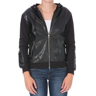 Dex Womens Jacket Faux Leather Hooded