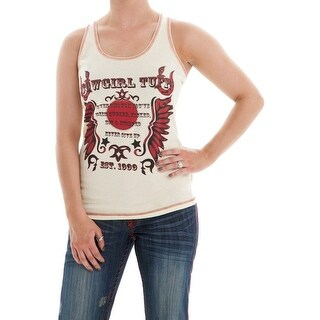 Cowgirl Tuff Western Shirt Womens Tank Top Feathers Racer Cream H00443