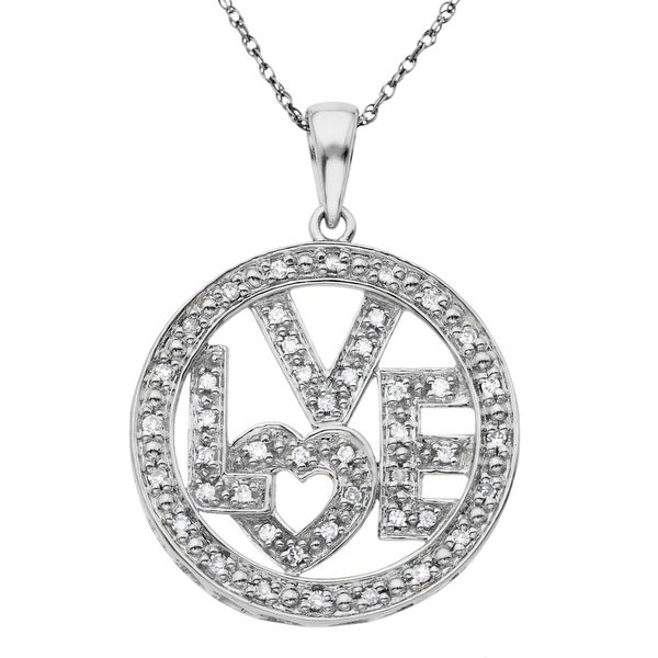 1/4 ct Diamond 'Love' Pendant in 10K White Gold