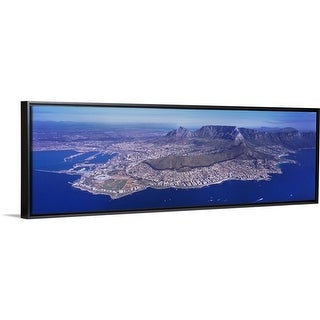 """""""Aerial view of an island, Cape Town, Western Cape Province, South Africa"""" Black Float Frame Canvas Art"""