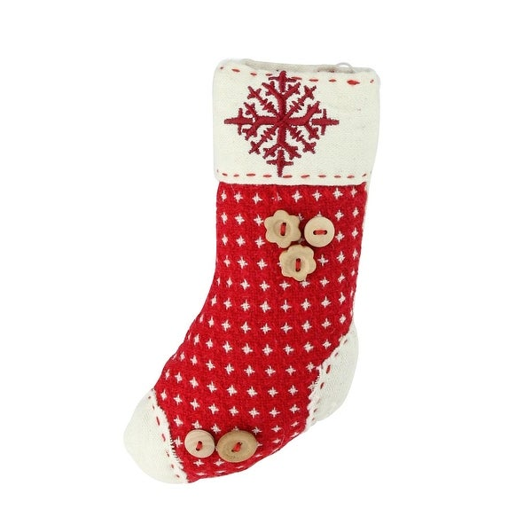 """7.5"""" Plush Red Holiday Stocking with Snowflake Embroidered Burlap Cuff Decorative Christmas Ornament - brown"""