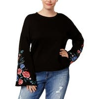 Planet Gold Womens Plus Sweatshirt Embroidered Bell Sleeves - 1X