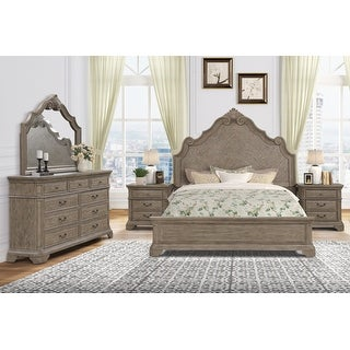 Levan Carved Wood Bed Set with Panel Bed, Dresser, Mirror, Two Nightstands
