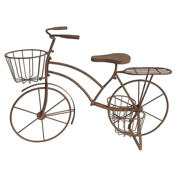 """36"""" Brown Vintage Style Leander Bicycle Plant Stand - N/A"""