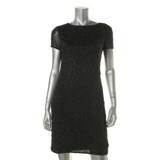 Lauren Ralph Lauren Womens Sheer Beaded Party Dress