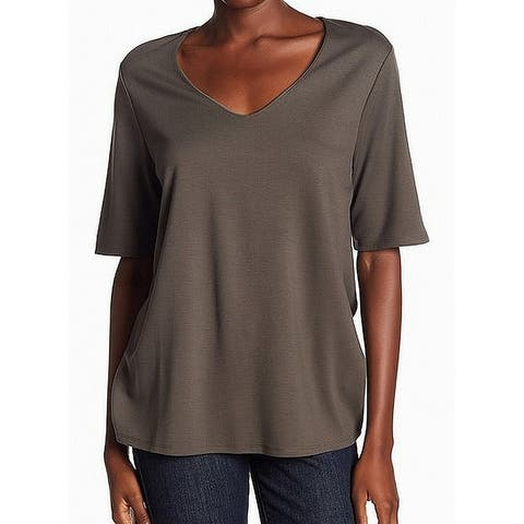 Gibson Women's Olive Large Ponte V-neck Tee Knit Top